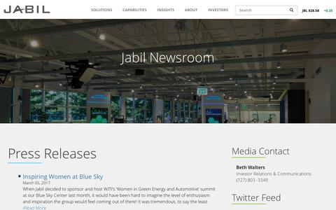 Screenshot of Press Page jabil.com - News | Jabil - captured May 21, 2017