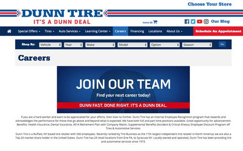 Screenshot of Jobs Page dunntire.com - Careers - captured Nov. 6, 2018