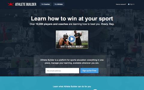 Screenshot of Home Page athletebuilder.com - Athlete Builder - captured Aug. 2, 2015