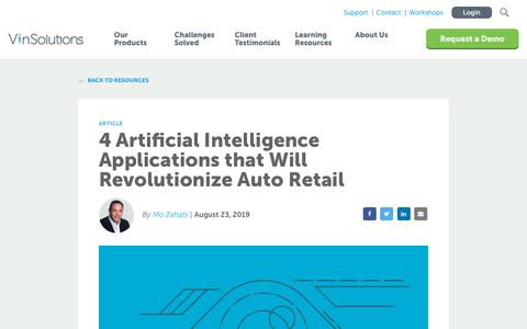 Screenshot of Blog vinsolutions.com - VinSolutions - 4 Artificial Intelligence Applications that Will Revolutionize Auto Retail - captured Dec. 3, 2019