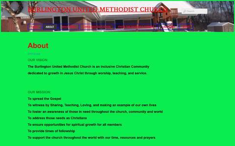 Screenshot of About Page burlingtonumc.org - About - Burlington United Methodist Church - captured April 13, 2017