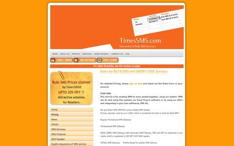 Screenshot of Pricing Page timessms.com - Bulk SMS Services by groups India @ TimesSMS.COM Bulk SMS  services Gateways - captured Nov. 4, 2014