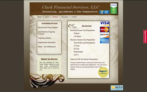 Screenshot of Services Page clark-financial-services.com - Services | Clark Financial Services, LLC - captured Oct. 2, 2014