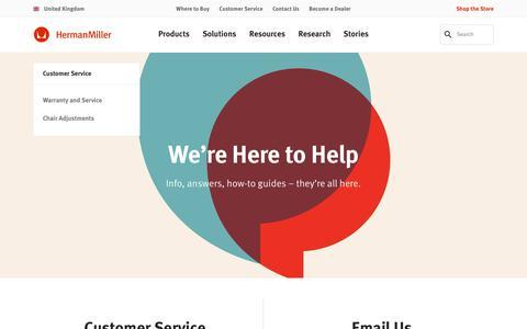 Screenshot of Support Page hermanmiller.com - Customer Service - Herman Miller - captured Oct. 19, 2018