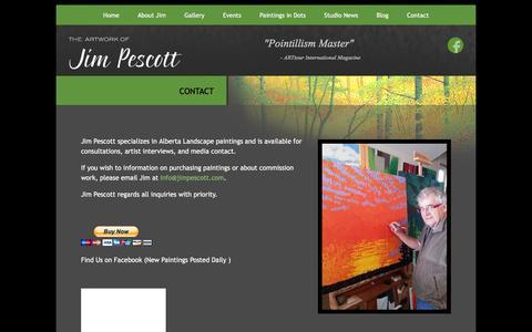 Screenshot of Contact Page jimpescott.com - Jim Pescott Artist - Alberta Landscape Paintings   Jim Pescott - captured Feb. 11, 2016