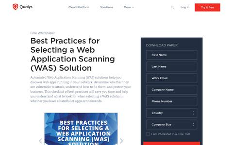 Best Practices for Selecting a Web Application Scanning (WAS) Solution Whitepaper | Qualys, Inc.