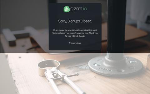 Screenshot of Signup Page germ.io - Signup for your free germ.io account | germ.io: idea-first project management tool - captured April 2, 2018