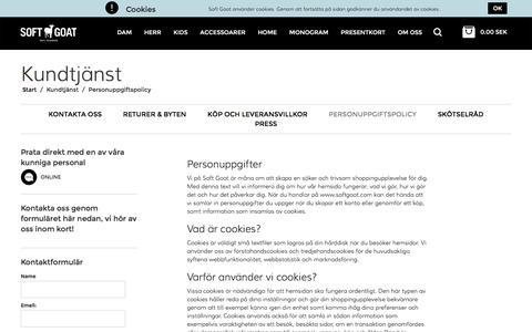 Screenshot of Privacy Page softgoat.com - Personuppgiftspolicy - Soft Goat - 100 % cashmere - captured Nov. 30, 2016