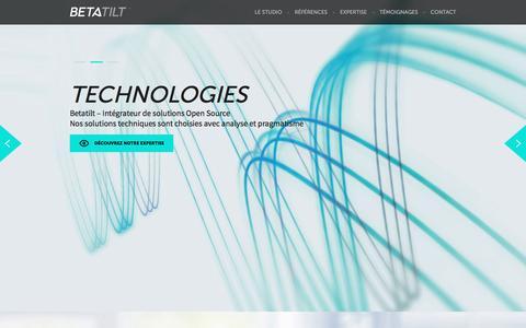 Screenshot of Home Page betatilt.com - BETATILT - Studio de production digitale - Intégrateur de solutions open source. - captured May 31, 2017