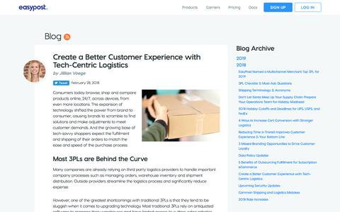 Screenshot of Support Page easypost.com - Create a Better Customer Experience with Tech-Centric Logistics - EasyPost - captured Dec. 4, 2019
