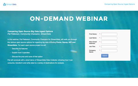 Screenshot of Landing Page streamsets.com - Webinar: Building Continuous Ingest Pipelines - Recipes for Success - captured Aug. 11, 2016