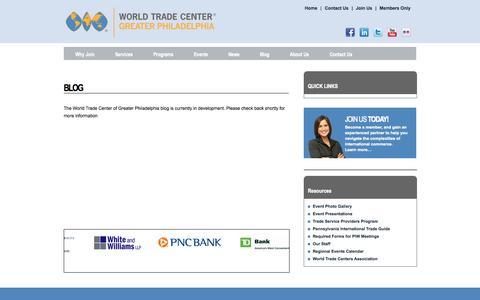 Screenshot of Blog wtcphila.org - Blog - World Trade Center of Greater Philadelphia | Philadelphia, PA - World Trade Center - Greater Philadephia | Philadelphia, PA - captured Nov. 5, 2014