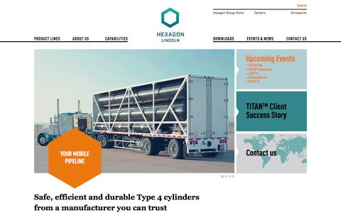 Screenshot of Home Page hexagonlincoln.com - Hexagon Lincoln - Safe, efficient and durable Type 4 cylinders from a manufacturer you can trust - captured Sept. 30, 2014