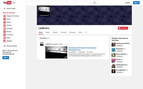 Screenshot of YouTube Page youtube.com - LazBroInc  - YouTube - captured Oct. 22, 2014