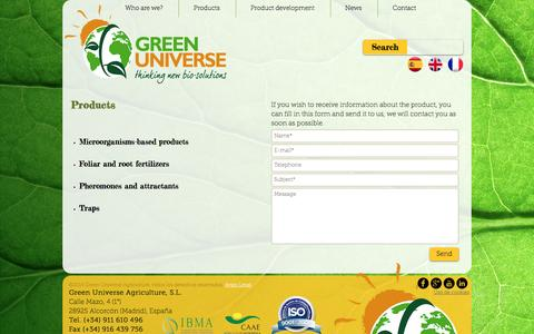 Screenshot of Products Page greenuniverseagriculture.com - Products | Green Universe Agriculture - captured July 19, 2016