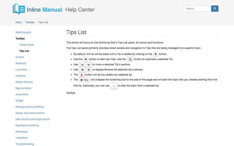 Tips List | Inline Manual Help Center