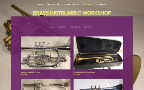 Screenshot of Products Page brassinstrumentworkshop.com - For Sale — Brass Instrument Workshop - captured March 27, 2016