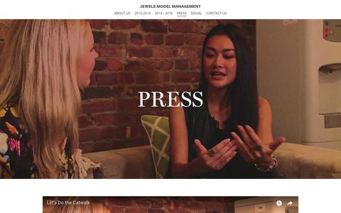 Screenshot of Press Page jewelsmodelmanagement.com - PRESS - Jewels Model Management - captured Sept. 20, 2018