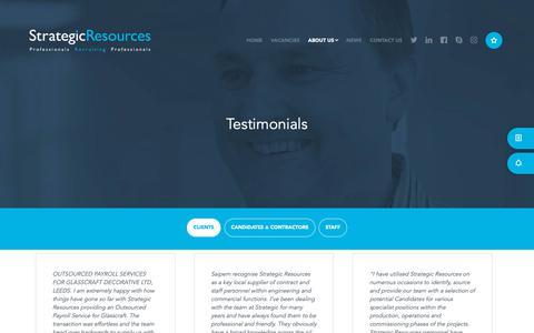 Screenshot of Testimonials Page strategic-resources.co.uk - Strategic Resources — Testimonials - captured Oct. 20, 2018