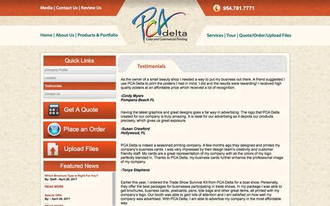 Screenshot of Testimonials Page pcadeltaprinting.com - Calendar Designing Services Hialeah | Printed Invitations Hialeah - captured Sept. 25, 2018