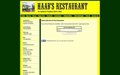 Screenshot of Signup Page haabsrestaurant.com - Newsletter | E-club | Mailing List - captured Sept. 27, 2014