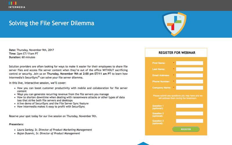 Intermedia Webinar | Solving the File Server Dilemma
