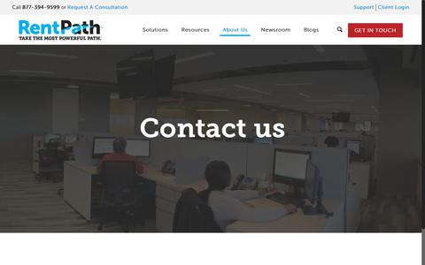 Screenshot of Support Page rentpath.com - Contact - RentPath Digital Marketing Solutions - captured Feb. 3, 2019