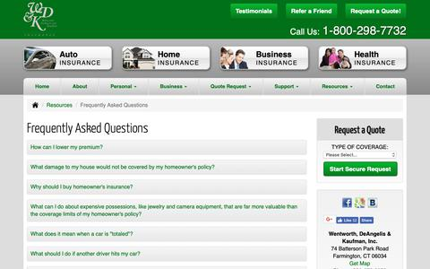 Screenshot of FAQ Page wdkins.com - Frequently Asked Questions - Farmington Connecticut - Wentworth, DeAngelis & Kaufman, Inc. - captured Oct. 21, 2018