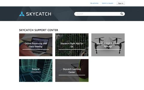 Screenshot of Support Page skycatch.com - Skycatch Support Center - captured April 3, 2018