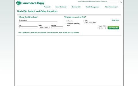 Screenshot of Locations Page commercebank.com - Locations | Commerce Bank - captured Nov. 10, 2016