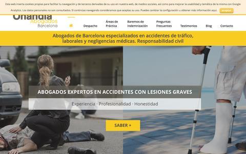 Screenshot of Home Page onandia-abogados.com - Indemnización accidente de tráfico|Onandia Abogados Barcelona - captured Feb. 26, 2016