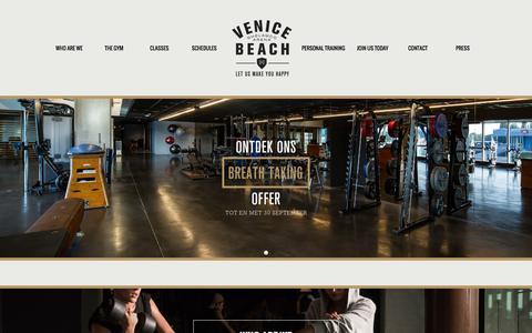 Screenshot of Home Page venicebeach.be - Home - Venice Beach - Ghelamco Arena - Gent - captured Oct. 9, 2014
