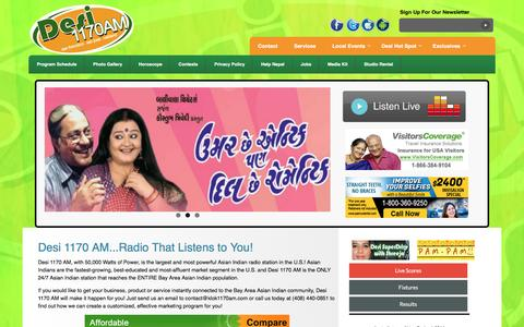 Screenshot of Home Page klok1170am.com - Desi 1170 AM - The Largest And Most Powerful Asian Indian Radio Station In The U.S. - captured Jan. 31, 2016