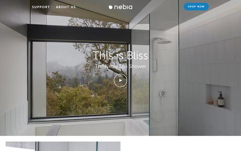 Screenshot of Home Page nebia.com - Nebia Spa Shower - captured Nov. 22, 2017