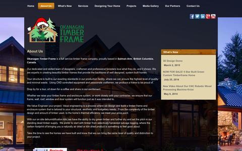 Screenshot of About Page oktimber.com - About Us | Okanagan Timber Frame | Salmon Arm - captured Feb. 13, 2016