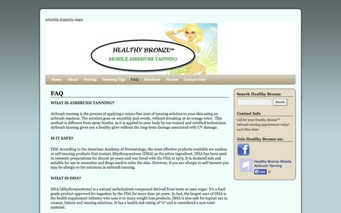 Screenshot of FAQ Page healthybronze.com - FAQ | Healthy Bronze - captured Sept. 29, 2014
