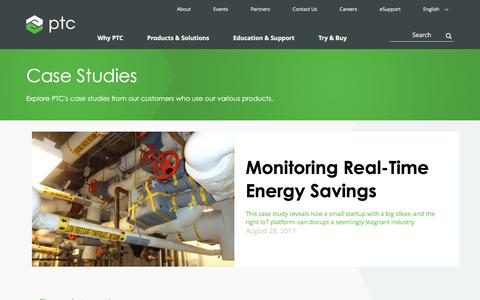 Screenshot of Case Studies Page ptc.com - Case Studies | PTC - captured May 27, 2018