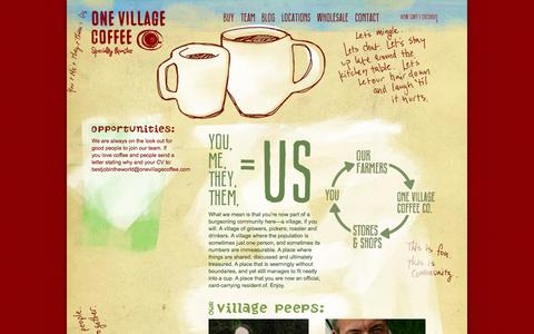 Screenshot of Team Page onevillagecoffee.com - Our Village - captured Oct. 26, 2014