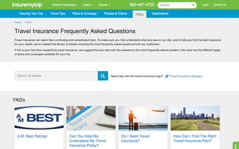 Screenshot of FAQ Page insuremytrip.com - Answers to All Your Travel Insurance Questions - captured July 19, 2019