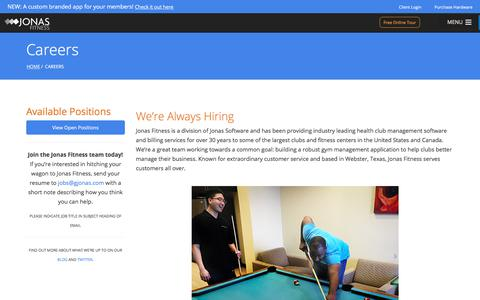 Screenshot of Jobs Page jonasfitness.com - Careers - Jonas Fitness Club Management Software - captured Aug. 19, 2017