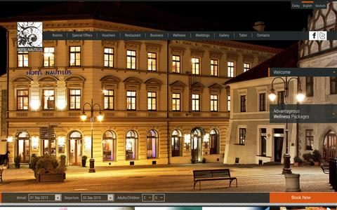 Screenshot of Home Page hotelnautilus.cz - Welcome | Hotel Nautilus - official website - captured Sept. 1, 2015