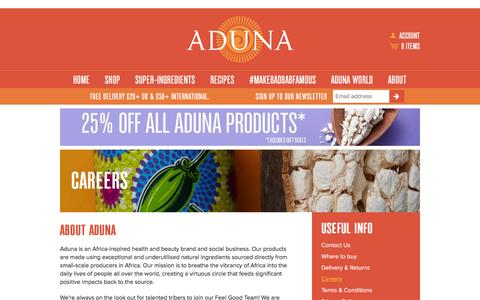 Screenshot of Jobs Page aduna.com - Careers – Aduna - captured Feb. 23, 2016