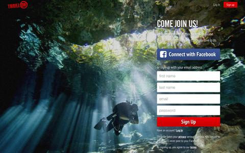 Screenshot of Signup Page thrillon.com - Join the community - Thrill On - Thrill On - captured July 3, 2015