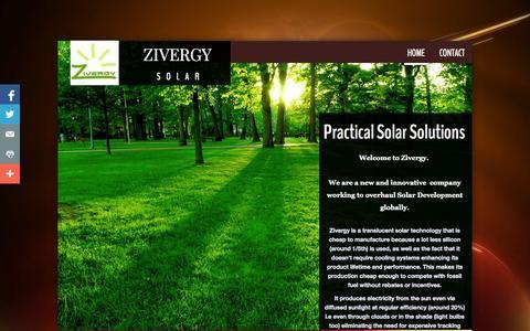 Screenshot of Home Page zivergy.com - Home - captured Sept. 30, 2014