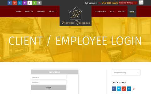 Screenshot of Login Page inspiredremodels.com - Client / Employee Login - Inspired Remodels - captured Sept. 19, 2018