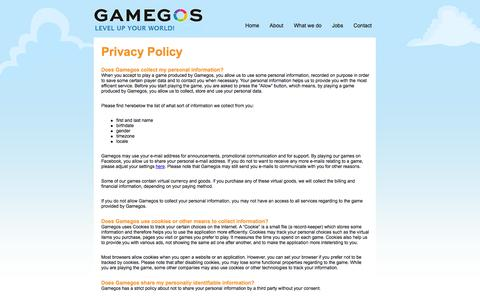 Screenshot of Privacy Page gamegos.com - Gamegos - Privacy Policy - captured Sept. 19, 2014