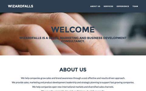 Screenshot of Home Page wizardfalls.com - Wizardfalls Sales & Marketing Agency - captured Feb. 17, 2016