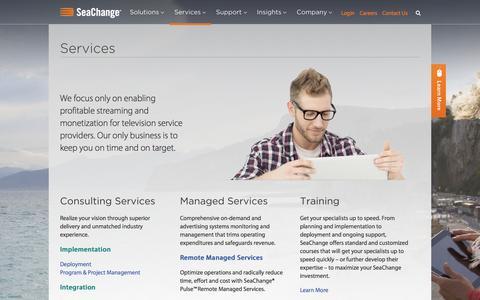 Screenshot of Services Page schange.com - SeaChange Services | SeaChange - captured Sept. 17, 2014