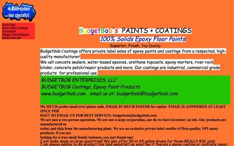 Screenshot of Home Page budgetbob.com - Budgetbob Coatings - captured Oct. 5, 2014