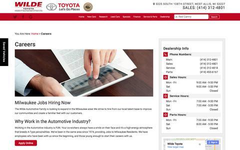 Screenshot of Jobs Page wildetoyota.com - West Allis Automotive Job   Wilde Toyota - captured Oct. 26, 2017